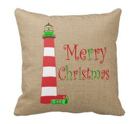 nautical lighthouse christmas pillow