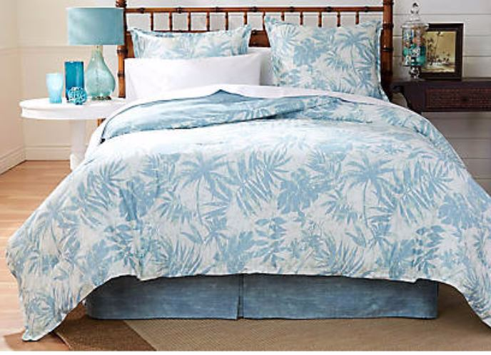 blue palm leaf comforter