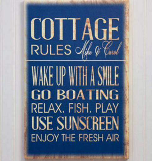 personalized cottage rules