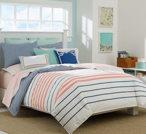 nautical coral and navy stripped bedding