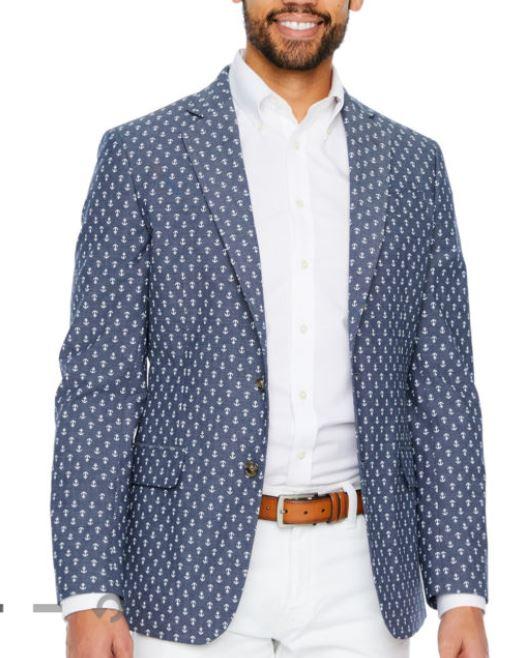 anchor print suit jacket for men